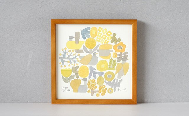 發現花園 日本選物~日本 伊藤利江 BIRDS' WORDS  飛鳥  水彩畫   掛畫~ 22cm 黃色鳥花園