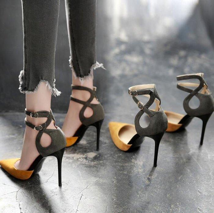 高跟鞋 秋季新款單鞋 女細跟性感百搭尖頭綁帶包頭拼色一字扣帶 高跟鞋 婚鞋—莎芭