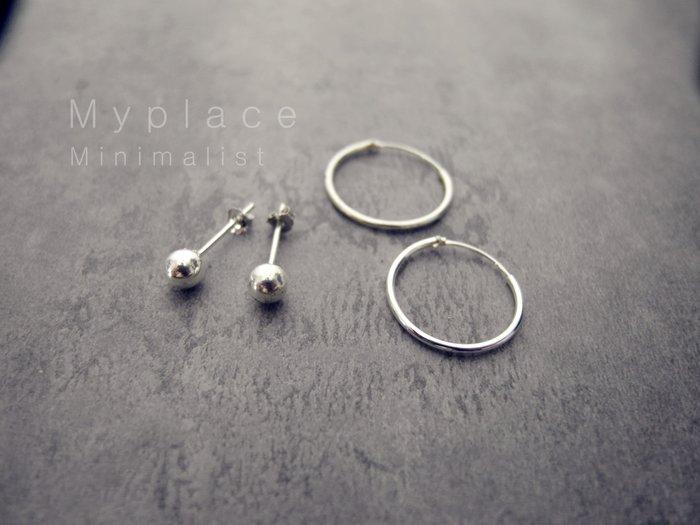 Myplace.com 個性耳著、925純銀【圓圈/鋼球 耳環】