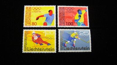 【大三元】歐洲郵票- 列支敦斯登-運動專題-奧運-新票4全1套-原膠