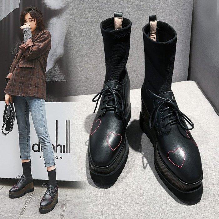 【美達】毛線筒彈力襪靴女秋冬季2019新款真皮厚底馬丁靴黑色系帶坡跟短靴