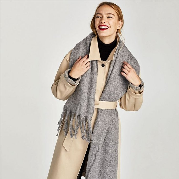 ZARA同款 柔軟觸感厚款保暖圍巾 灰色 (含運)