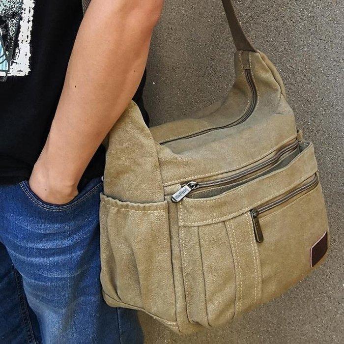 斜背包 精品男包帆布男士休閒包包單肩包斜跨背包橫款簡約A4多功能斜背包
