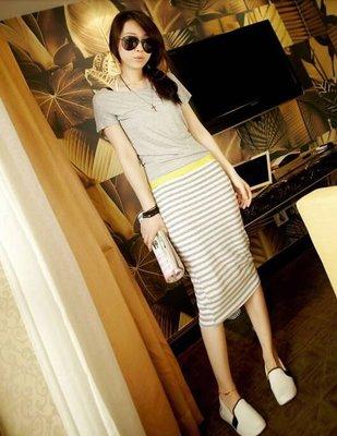 韓版短袖長裙連衣裙(灰色) YI206991424 J-12627