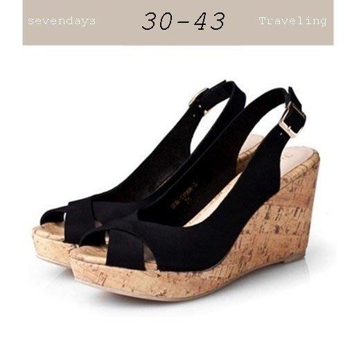 大尺碼女鞋小尺碼女鞋魚口交叉麂皮磨砂素面涼鞋楔型跟鞋厚底鞋黑色(30-43)現貨#七日旅行