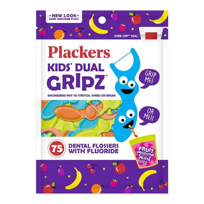 全新包裝 PLACKERS 美國進口 普雷克 兒童塗氟牙線棒 水果口味 75入 新包裝