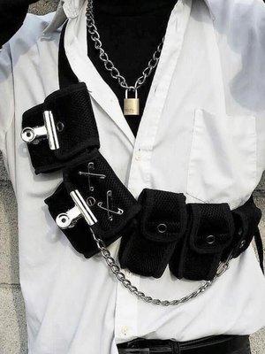 蹦迪包女工裝包斜挎潮牌嘻哈戰術腰包機能風暗黑系胸包男ins超火