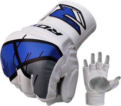 GGL-T7【千里之行】英國RDX綜合格鬥UFC自由搏擊MMA露指手套-白藍
