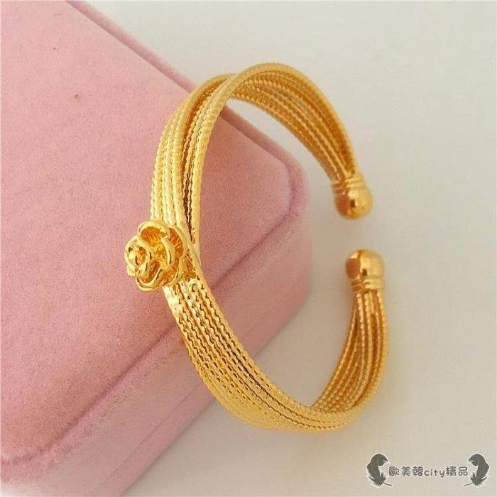 鍍金手鍊 沙金手鐲女多線花朵開口光面手鐲黃銅24K飾品