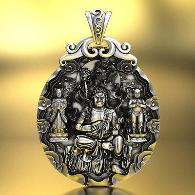 【睿智精品】990銀飾 神像 佛像 不動尊菩薩 不動明王吊墜 十二生肖屬(雞)本命佛(GA-4825)