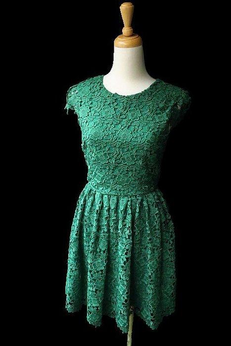 *Beauty*alice+olivia全新 綠色短袖蕾絲洋裝 0  號   9800 元WE18