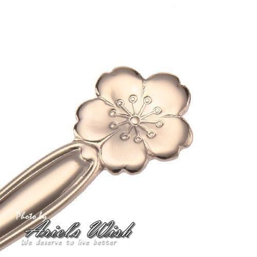 Ariel's Wish-夢幻春天櫻花季-古典精緻玫瑰金色櫻花叉子蛋糕叉子水果叉子---日本製---現貨一個超難賣到