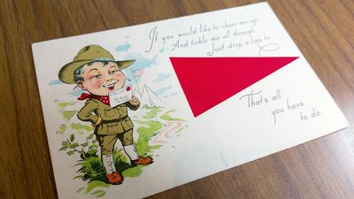 百年古董明信片 漫畫趣味 童子軍圖案