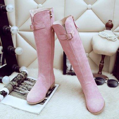 高品質訂製真皮女鞋 長筒靴 中筒靴 短靴 馬丁靴 雪地靴新款磨砂低跟長靴真皮側拉鏈高筒單靴子騎士靴甜美粉色女靴子及膝