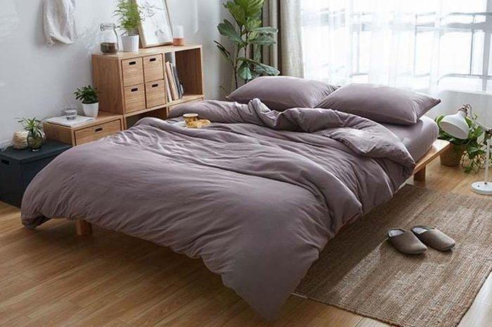純棉親膚裸睡專用床包組(暗黑紫) 床包 床單 枕頭套 枕頭 床 棉被 被套 寢具 裸睡 純棉 床包組 拖鞋 室內拖鞋