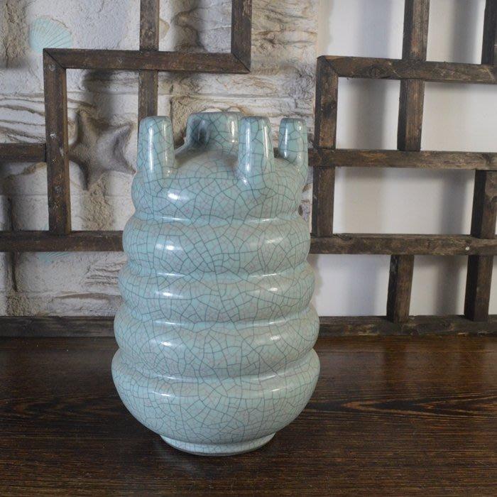 百寶軒 仿古瓷器復古做舊南宋官窯風格天藍釉五孔瓶古董古玩收藏擺件 ZK1494