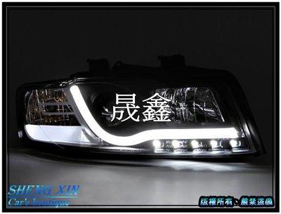 《晟鑫》全新 奧迪 AUDI 01-04年 B6 8E A4 R8樣式 光導 魚眼 黑底 大燈組 另有B7專用款式