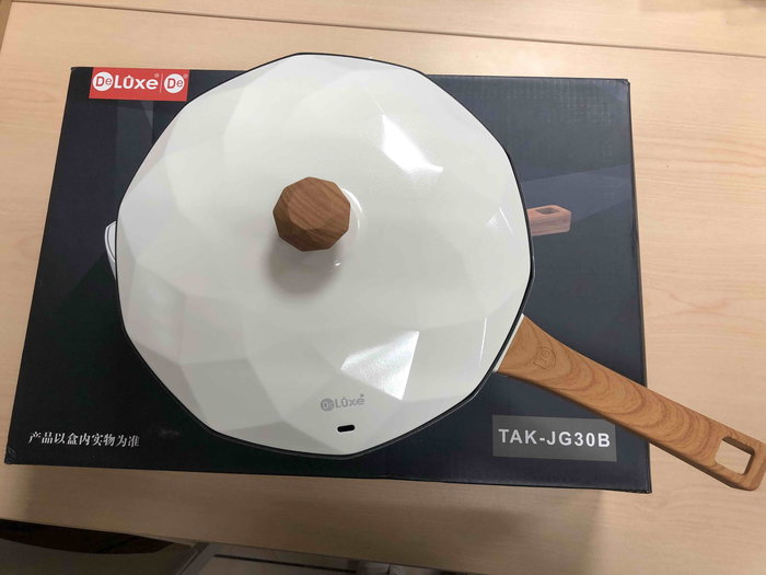 純麥飯石不粘鍋無塗層家用炒菜 電磁爐/瓦斯爐通用 八角炒鍋-白