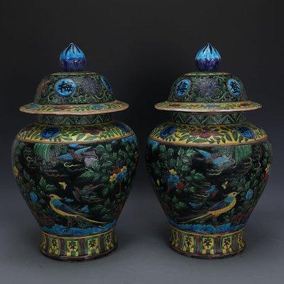 ㊣姥姥的寶藏㊣ 大明嘉靖琺華彩花鳥紋將軍罐一對  出土文物古瓷器手工瓷古玩收藏