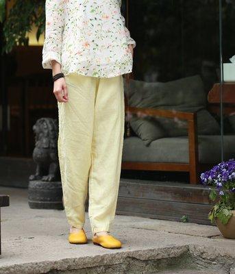 (老銀屋)春夏清新文藝鬆緊腰水洗亞麻休閒褲/小腳褲