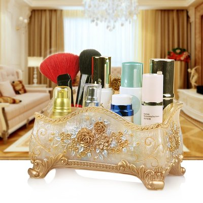 創意化妝品收納盒歐式客廳桌面雜物儲物盒首飾護膚品整理盒遙控器#收納盒#居家#方便#創意