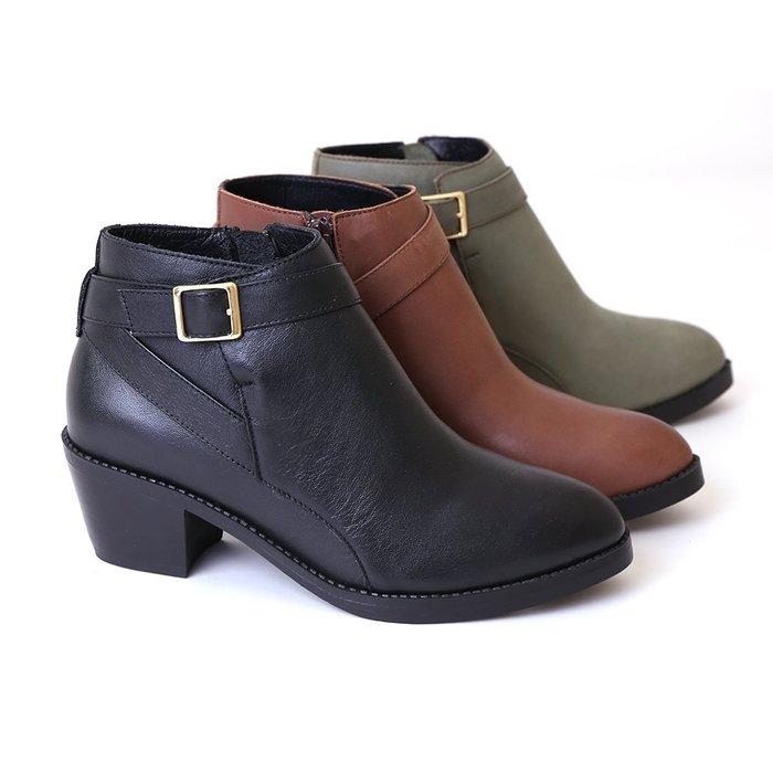 222短靴 柔軟氣墊底 交叉單邊金屬釦飾真皮短靴 機車靴 馬靴 MIT台灣手工鞋 丹妮鞋屋