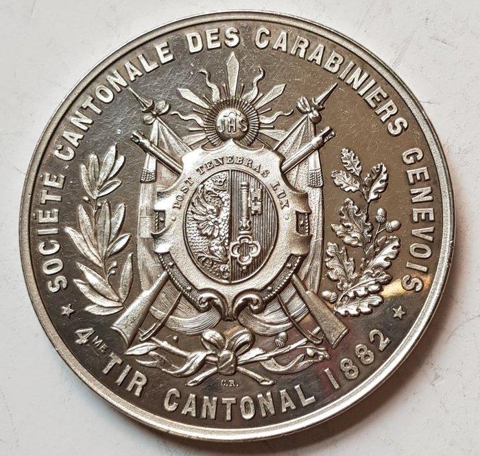瑞士銀章 1882 Geneva Silver Shooting Medal.