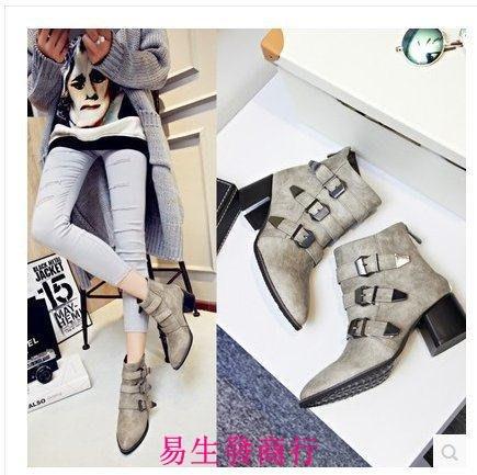 【易生發商行】歐美秋冬中跟潮靴機車靴皮帶扣拉鏈短靴馬丁靴方跟尖頭女靴F6431