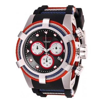瑞士製 Invicta 限時特賣稀有款1.3折! 53mm Bolt 鋼索黑色三眼手錶男錶潛水錶英倫風27145全新真品