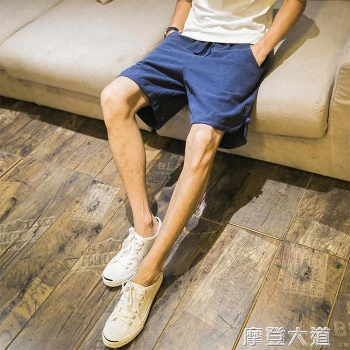 【特惠】亞麻短褲男褲子夏天寬鬆五分沙灘褲夏季 【優の館】