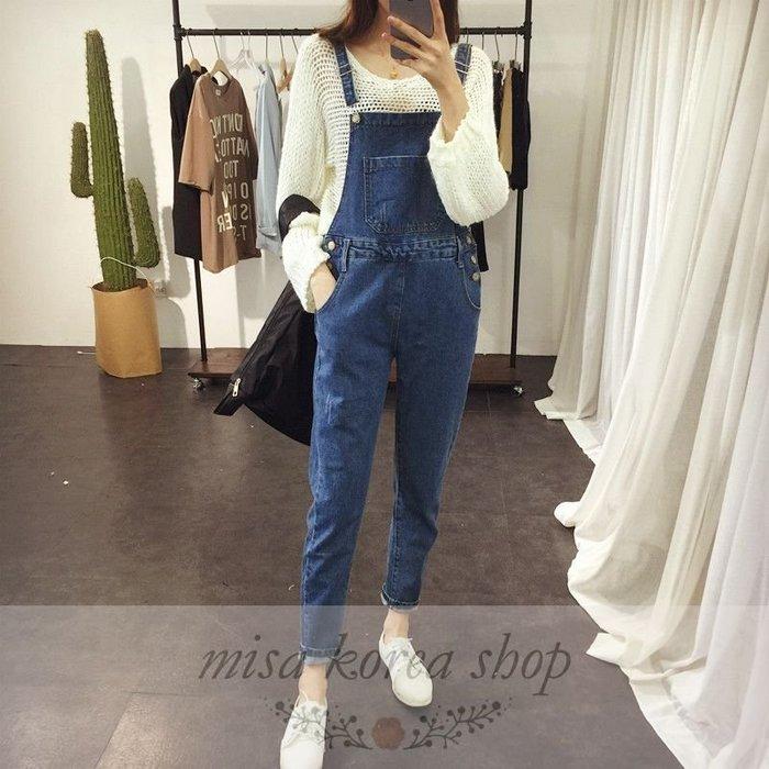 Misa Shop~韓版復古水洗磨白BF風寬鬆顯瘦背带牛仔長褲 ZY-502