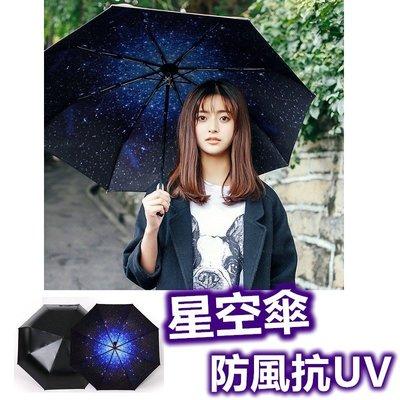 全新二代星空傘 100%不透光抗UV 防紫外線 太陽傘 黑膠折疊晴雨傘 遮陽 防曬.【RS481】