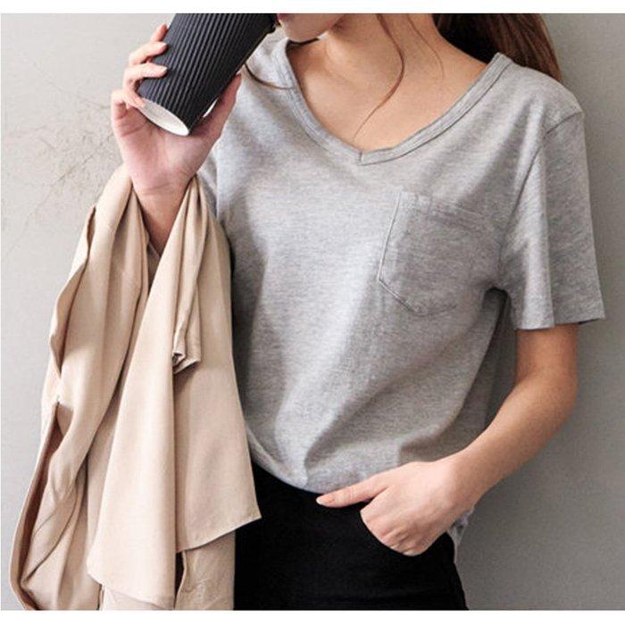 【Hao Da】全館399免運↘「M~XL。現貨」竹節棉 V領單口袋 短袖上衣 (C1088)