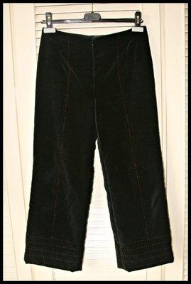 【 Shiatzy Chen】夏姿深黑天鵝絨鋪棉內裡純絲中國紅車縫線寬版長褲(原價$37900)