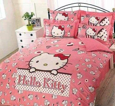 §同床共枕§  HelloKitty 100%精梳純棉  單人3.5x6.2尺 床罩兩用被套四件組-時尚茶點 粉
