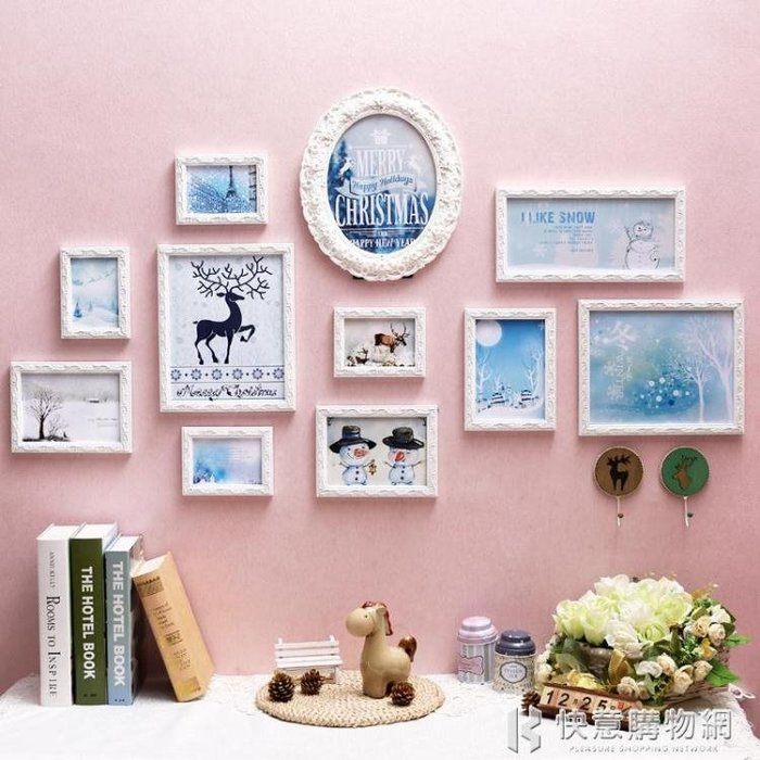 照片牆簡約現代照片牆歐式相框牆相片創意掛牆組合實木雕花家居裝飾 igo