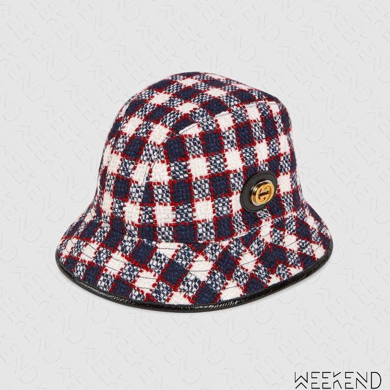 【WEEKEND】 GUCCI GG Tweed Fedora 毛尼 帽子 漁夫帽 藍+白色 19秋冬 577731