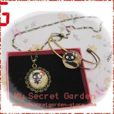 現貨 Chococat 朱古力貓 黑貓卡通 Necklace Bracelet Set 時光寶石 項鏈手镯套裝