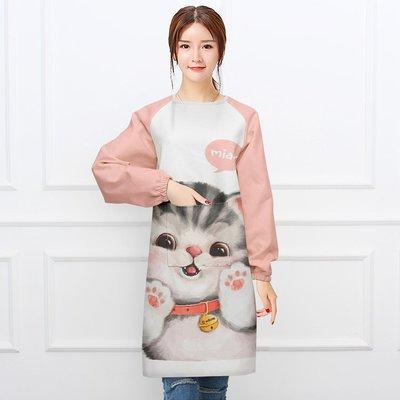 圍裙可愛萌貓 布藝家居時尚簡約圍裙長袖反穿衣廚房烘焙罩衣做飯成人
