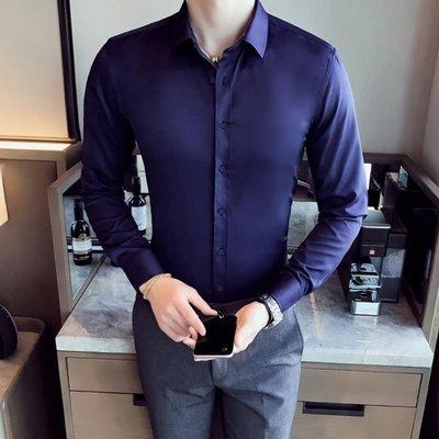 長袖襯衫 帥氣正韓純色簡約免燙男士商務長袖素面襯衫 修身青年潮