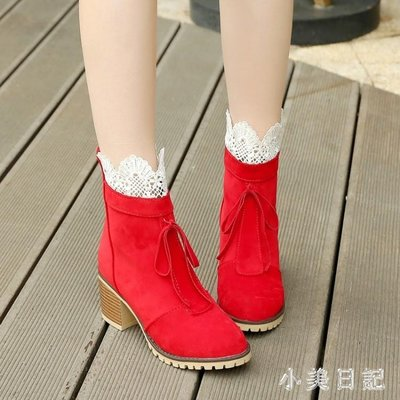 韓版蕾絲甜美短靴短筒蝴蝶結磨砂春秋單靴中跟粗跟馬丁靴 DN19389