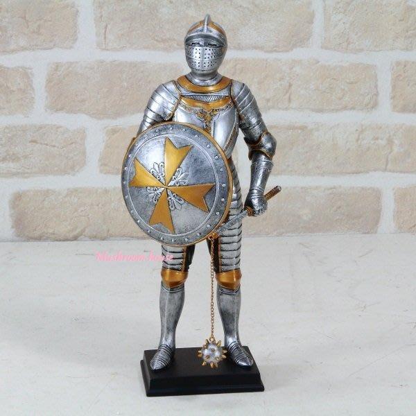 點點蘑菇屋{中古武士擺飾十七}鐵甲武士 全身盔甲手拿鏈錘 馬爾他徽章 歐洲羅馬武士 現貨 免運費