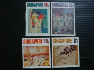 【大三元】新加坡郵票- SP33當代藝術郵票~1972年發行~新票~~原膠4全1套
