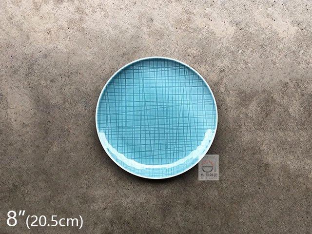 +佐和陶瓷餐具批發+【8218PX01-8 8吋格線圓盤-龍泉藍】系列餐具 圓盤 圓皿 餐廳用盤 營業餐具