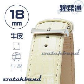 【鐘錶通】C1.29I《亮彩系列-手拉錶耳》鱷魚格紋-18mm 米白┝手錶錶帶/皮帶/牛皮錶帶┥
