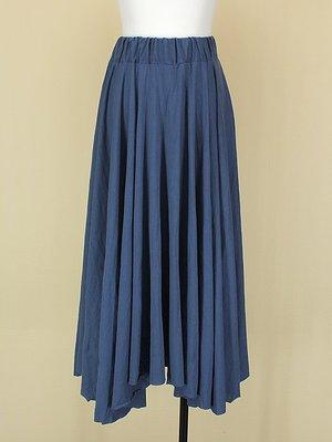 貞新二手衣 韓 靛藍棉質圓裙長裙F號(21391)