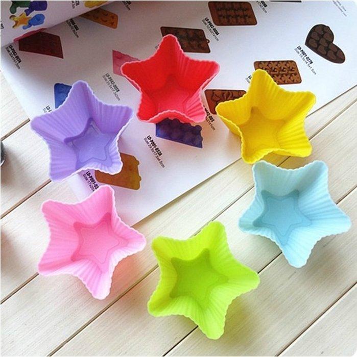 *水蘋果* A-012 7cm 五角 星形 矽膠蛋糕模具 DIY 巧克力 冰格 製冰 手工皂模具