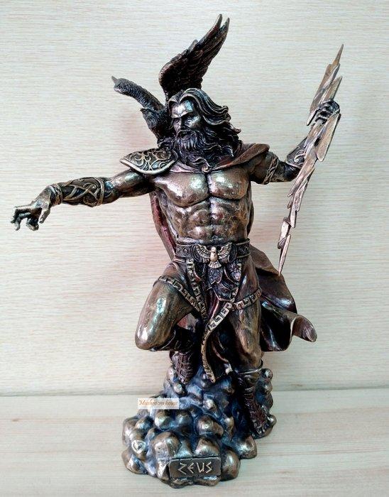 點點蘑菇屋 歐洲精品宙斯手持閃電仿銅雕像擺飾 老鷹 希臘神話雕塑 西洋古典精緻塑像 現貨 免運費
