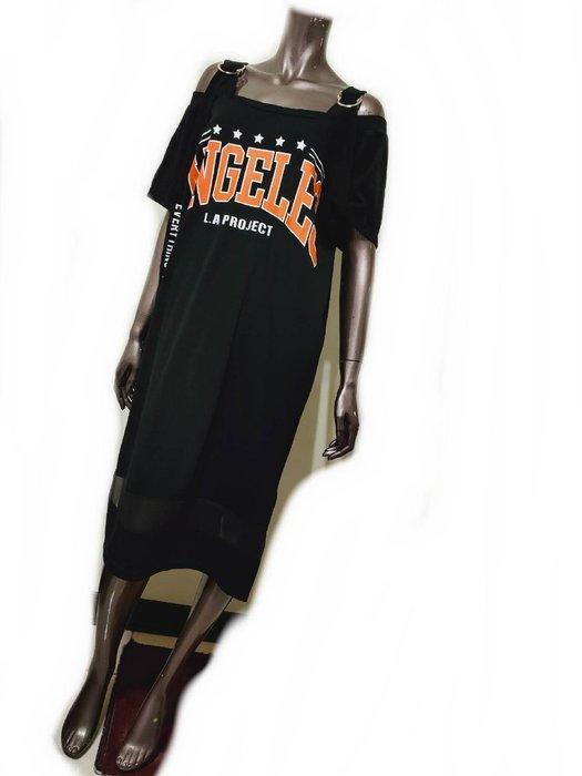 黑色休閒棉時尚短袖洋裝