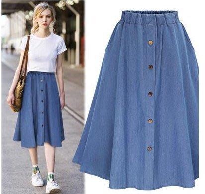 半身裙 牛仔裙 短裙 32034/新款 排扣松緊腰歐美街頭風水藍色學生牛仔裙可搭T恤 襯衫 襯衣 雪紡衫